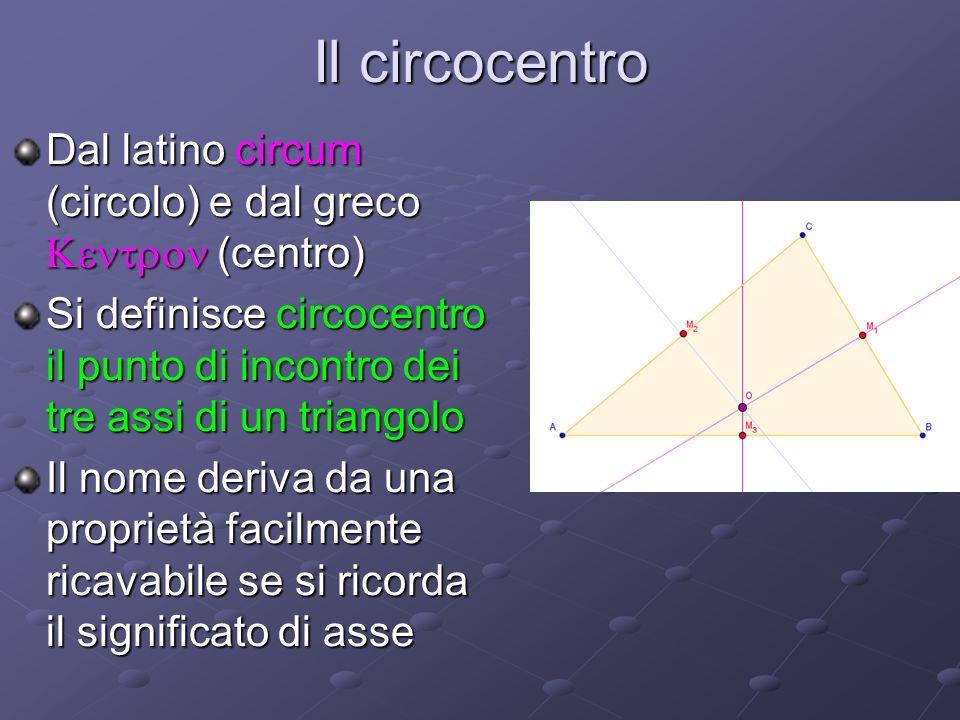Il circocentroDal latino circum (circolo) e dal greco Kentron (centro) Si definisce circocentro il punto di incontro dei tre assi di un triangolo.