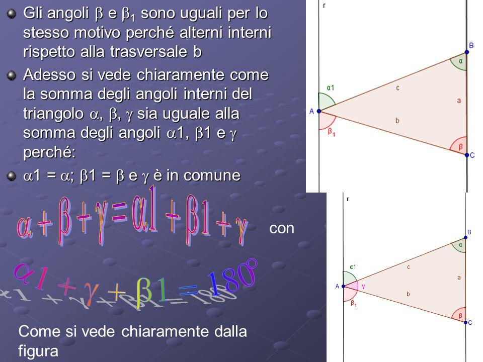 Gli angoli b e b1 sono uguali per lo stesso motivo perché alterni interni rispetto alla trasversale b