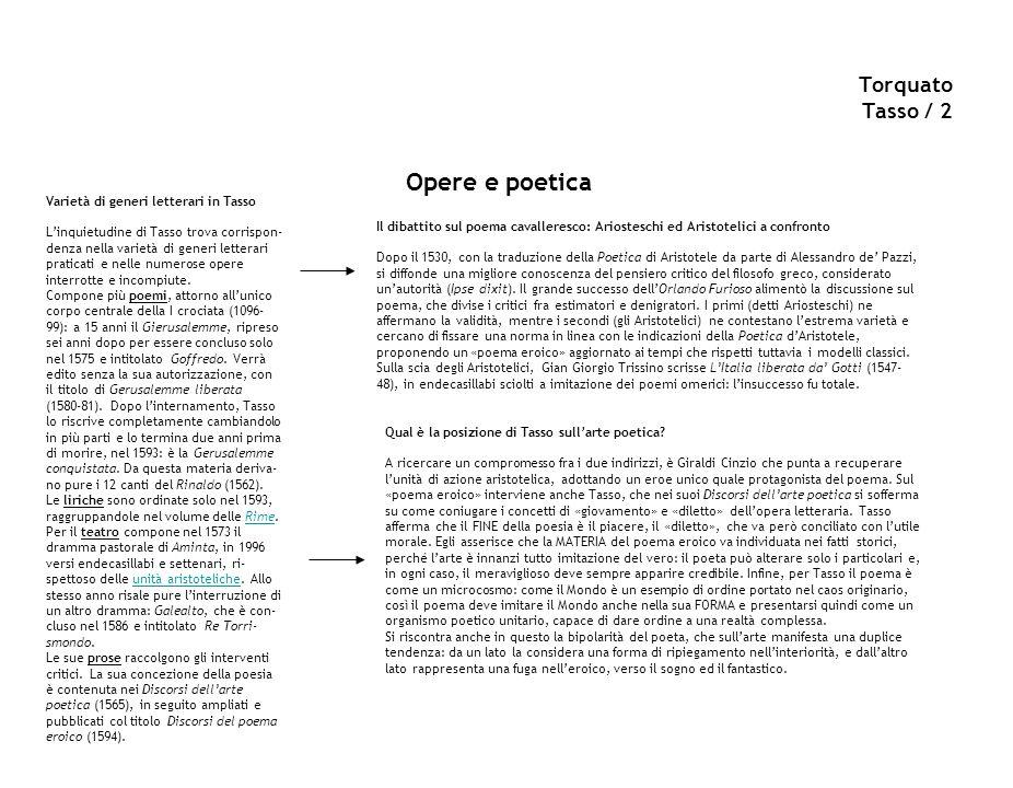 Opere e poetica Torquato Tasso / 2 Sul