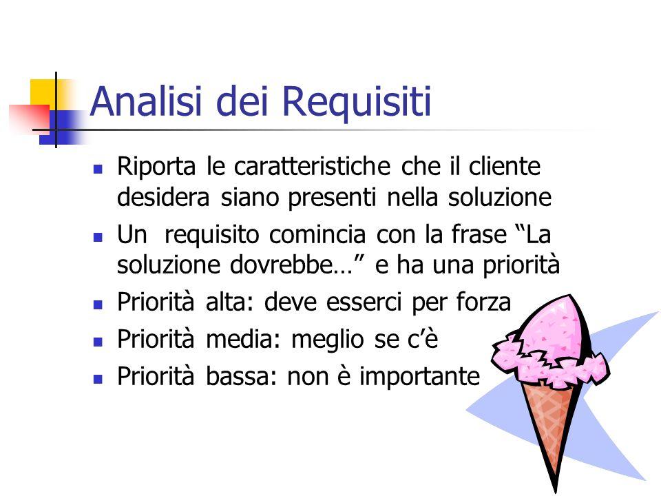 Analisi dei Requisiti Riporta le caratteristiche che il cliente desidera siano presenti nella soluzione.