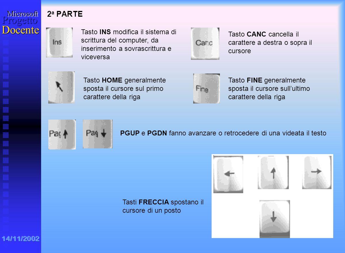 2a PARTE Tasto INS modifica il sistema di scrittura del computer, da inserimento a sovrascrittura e viceversa.