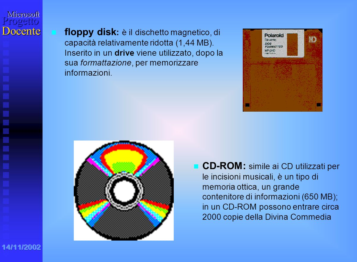 floppy disk: è il dischetto magnetico, di capacità relativamente ridotta (1,44 MB). Inserito in un drive viene utilizzato, dopo la sua formattazione, per memorizzare informazioni.