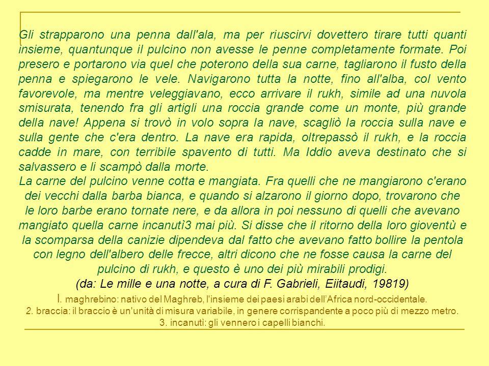 (da: Le mille e una notte, a cura di F. Gabrieli, Eiitaudi, 19819)