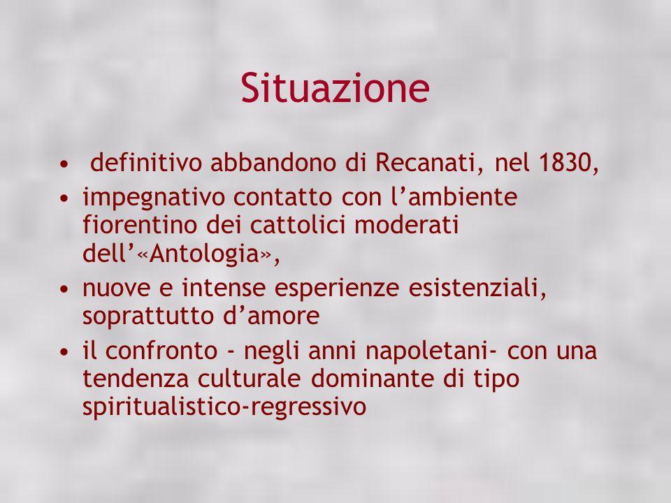 Situazione definitivo abbandono di Recanati, nel 1830,