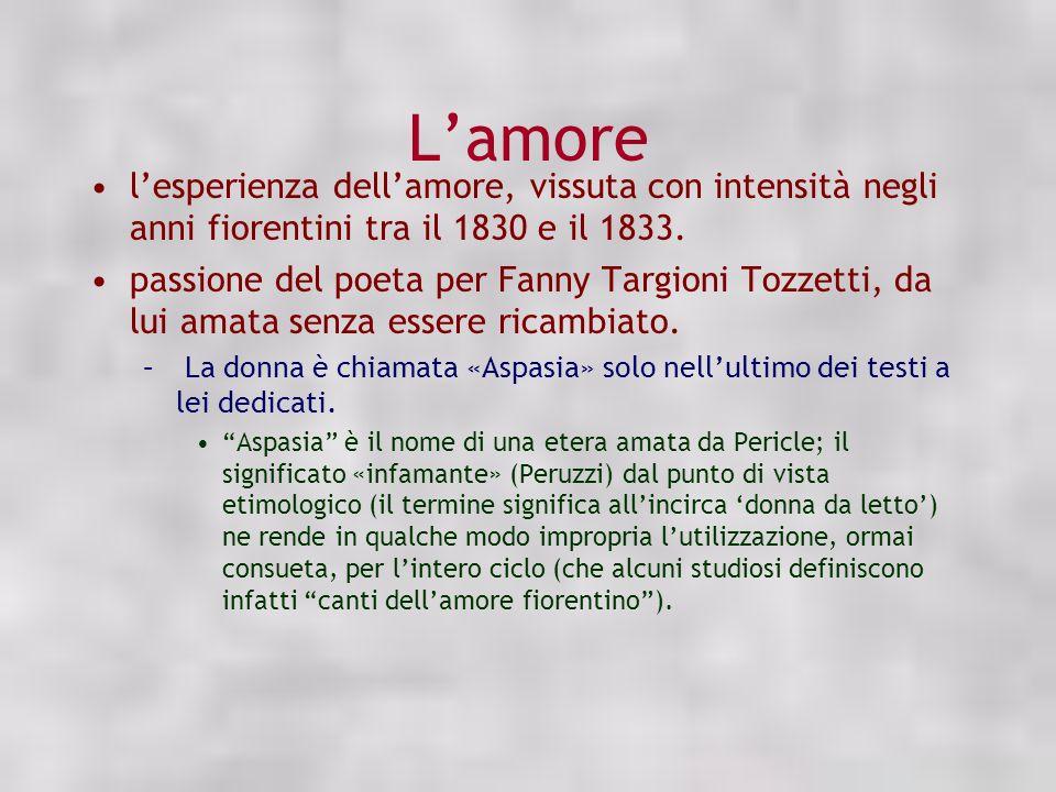L'amore l'esperienza dell'amore, vissuta con intensità negli anni fiorentini tra il 1830 e il 1833.