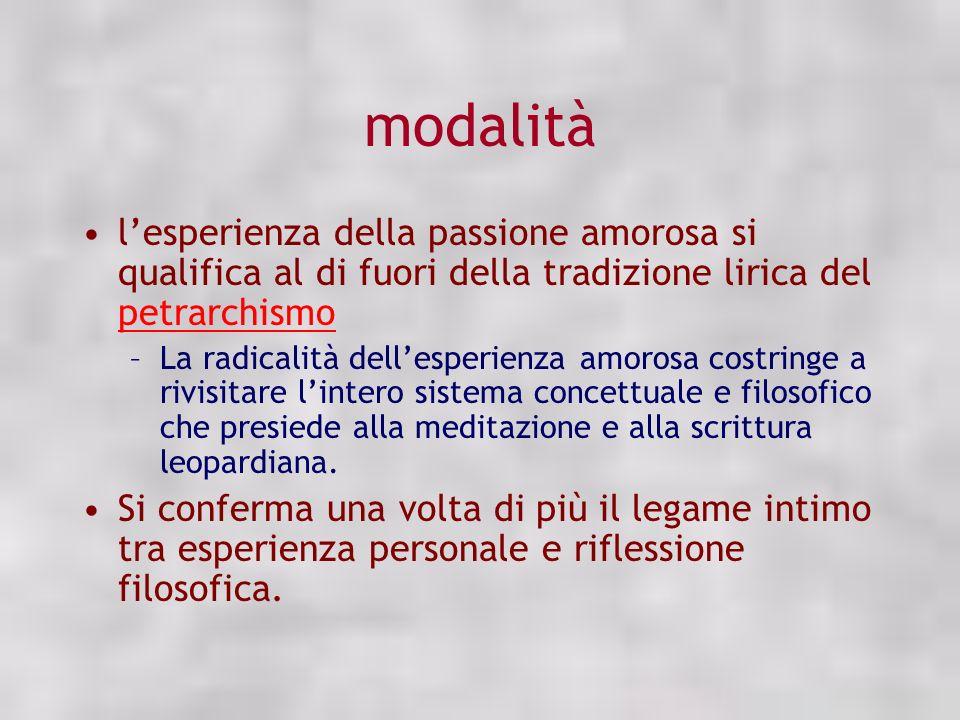 modalità l'esperienza della passione amorosa si qualifica al di fuori della tradizione lirica del petrarchismo.