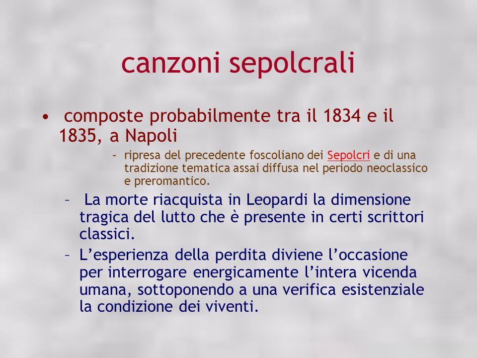 canzoni sepolcrali composte probabilmente tra il 1834 e il 1835, a Napoli.
