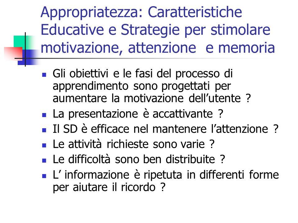 Appropriatezza: Caratteristiche Educative e Strategie per stimolare motivazione, attenzione e memoria