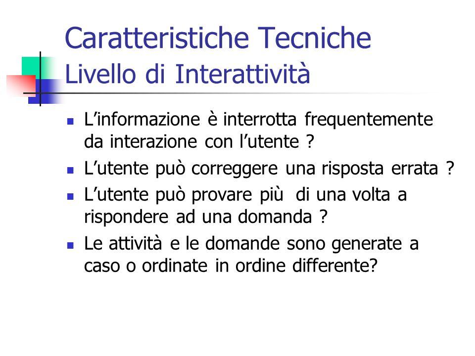 Caratteristiche Tecniche Livello di Interattività
