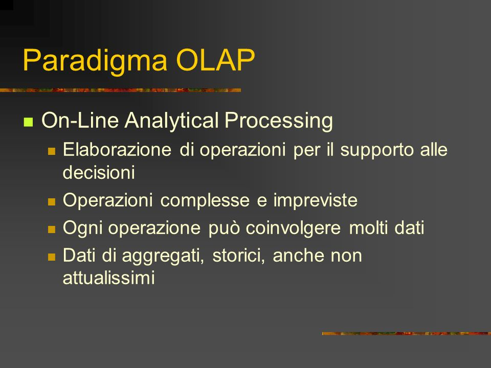 Paradigma OLAP On-Line Analytical Processing
