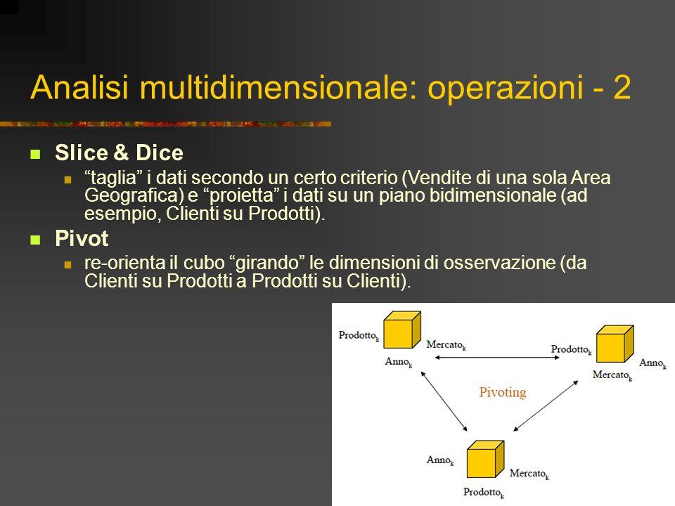 Analisi multidimensionale: operazioni - 2