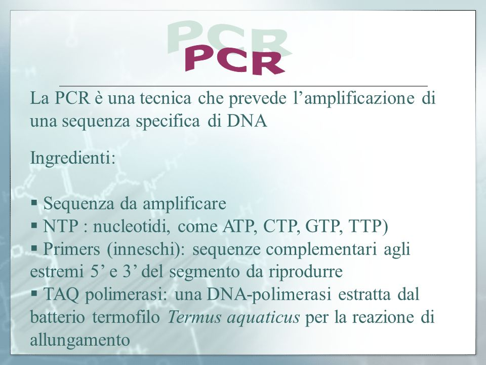 PCR La PCR è una tecnica che prevede l'amplificazione di una sequenza specifica di DNA. Ingredienti: