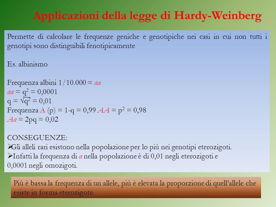 Applicazioni della legge di Hardy-Weinberg