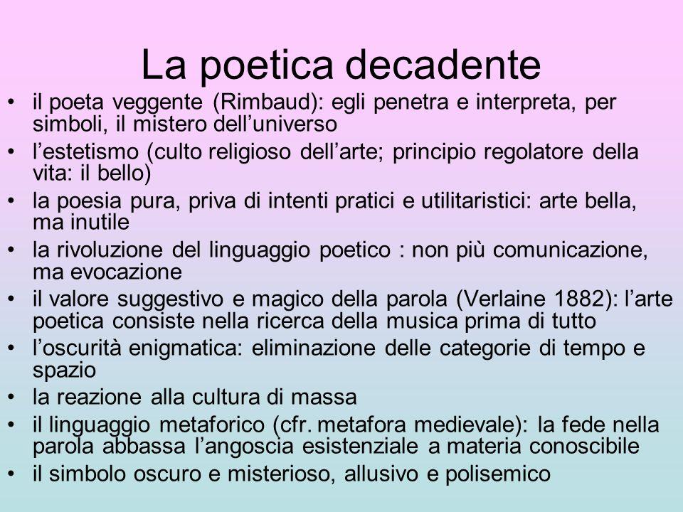 La poetica decadente il poeta veggente (Rimbaud): egli penetra e interpreta, per simboli, il mistero dell'universo.