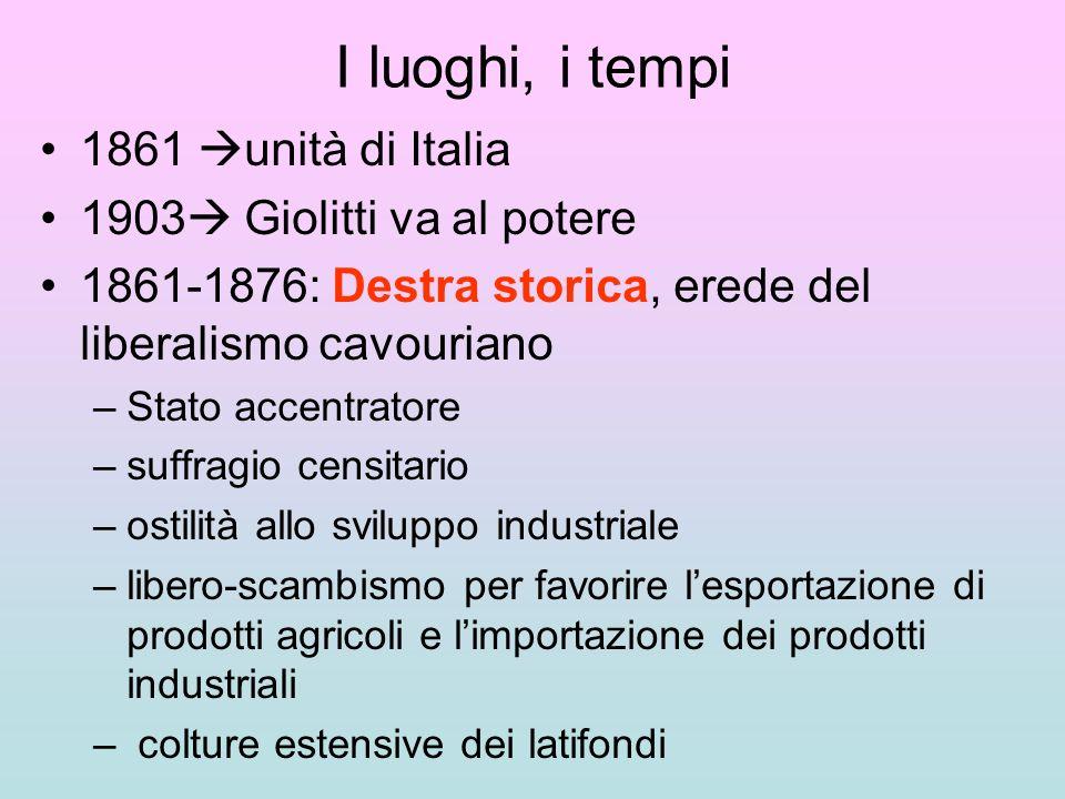 I luoghi, i tempi 1861 unità di Italia 1903 Giolitti va al potere