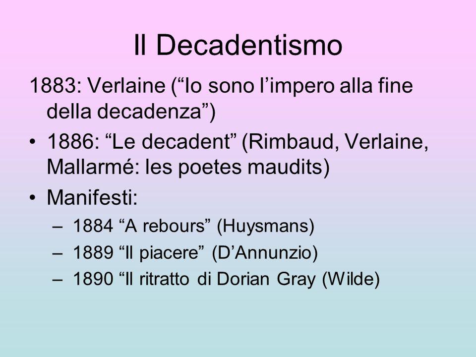 Il Decadentismo 1883: Verlaine ( Io sono l'impero alla fine della decadenza ) 1886: Le decadent (Rimbaud, Verlaine, Mallarmé: les poetes maudits)