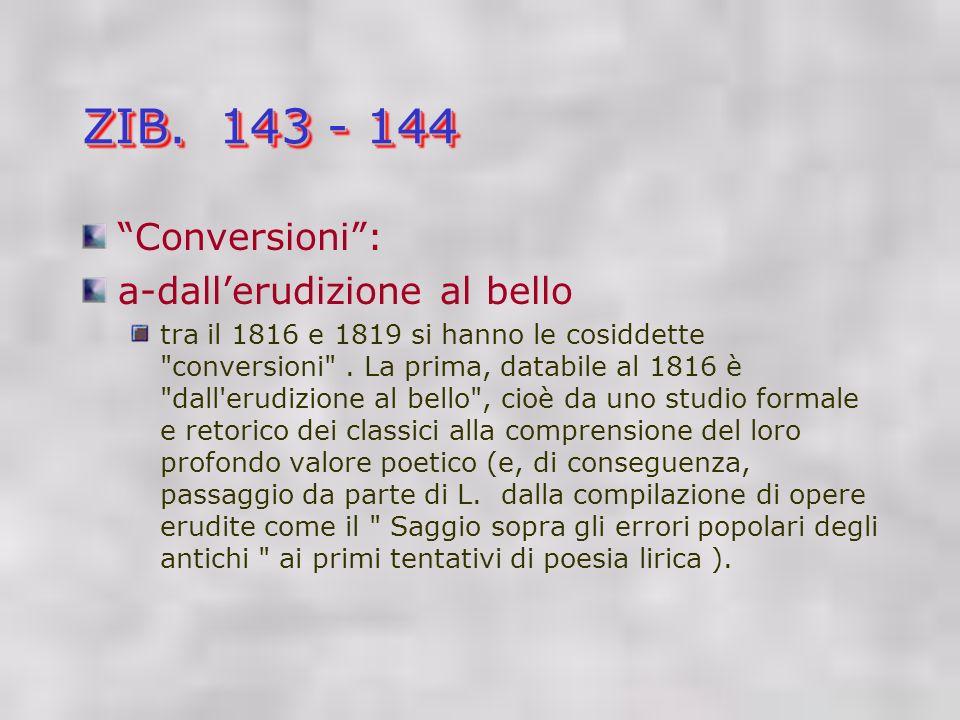 ZIB. 143 - 144 Conversioni : a-dall'erudizione al bello