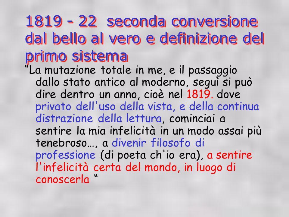 1819 - 22 seconda conversione dal bello al vero e definizione del primo sistema