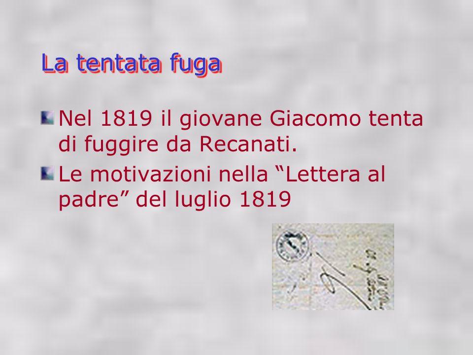 La tentata fuga Nel 1819 il giovane Giacomo tenta di fuggire da Recanati.