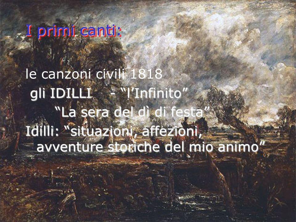 I primi canti: le canzoni civili 1818 gli IDILLI - l'Infinito