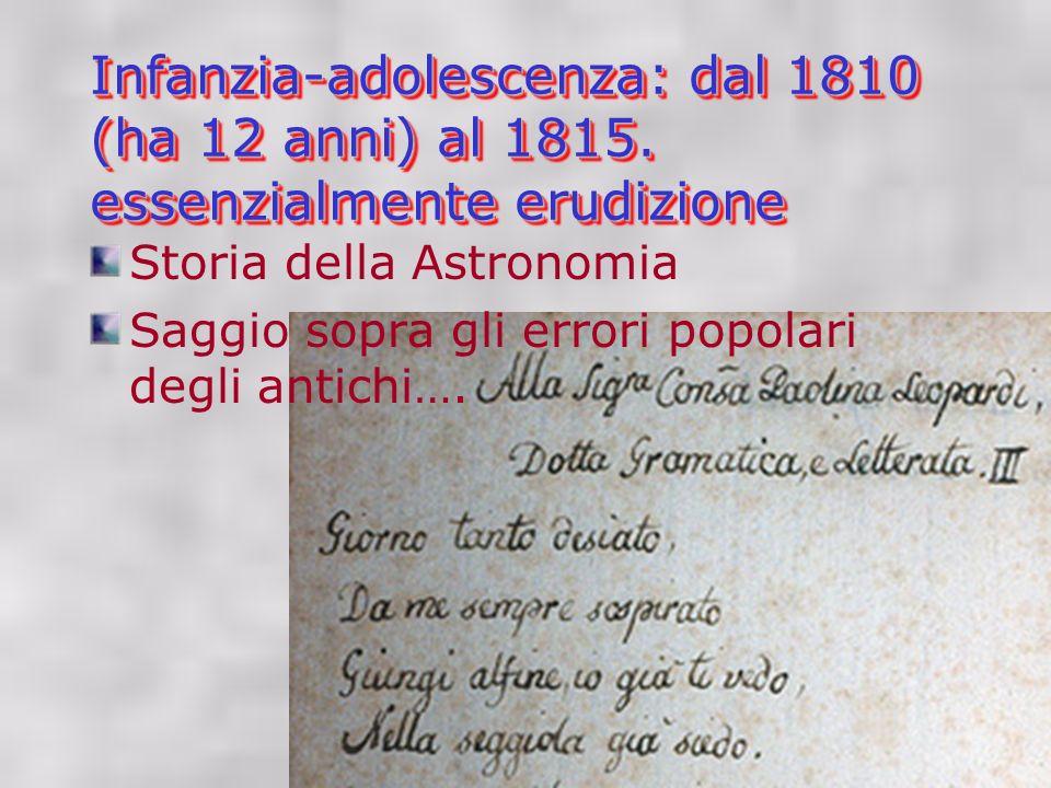 Infanzia-adolescenza: dal 1810 (ha 12 anni) al 1815