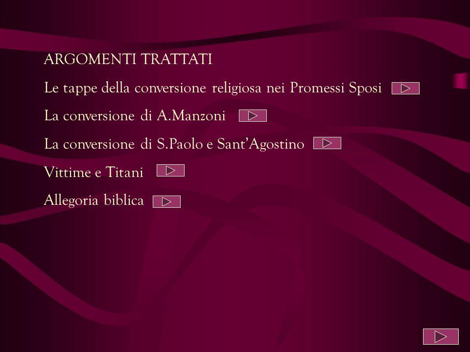ARGOMENTI TRATTATI Le tappe della conversione religiosa nei Promessi Sposi. La conversione di A.Manzoni.