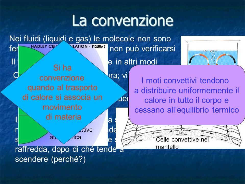 La convenzione Nei fluidi (liquidi e gas) le molecole non sono ferme perciò la conduzione non può verificarsi.