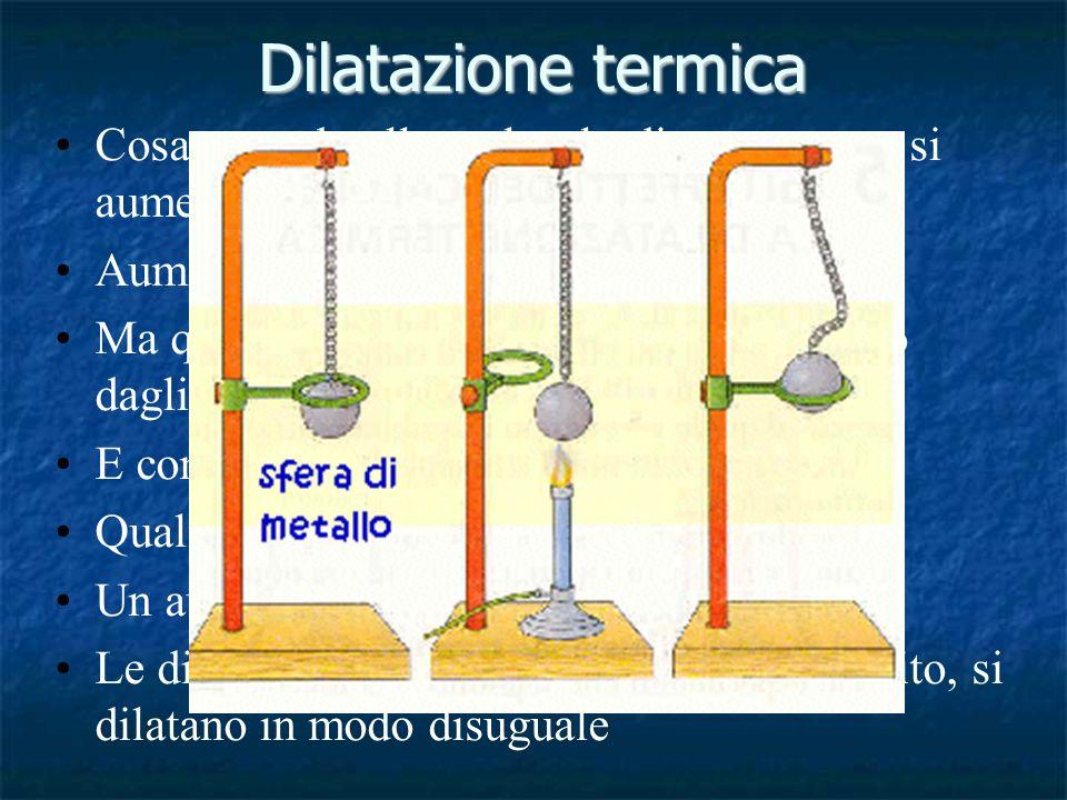 Dilatazione termica Cosa succede alle molecole di un corpo se si aumenta di temperatura Aumenta l'agitazione termica.