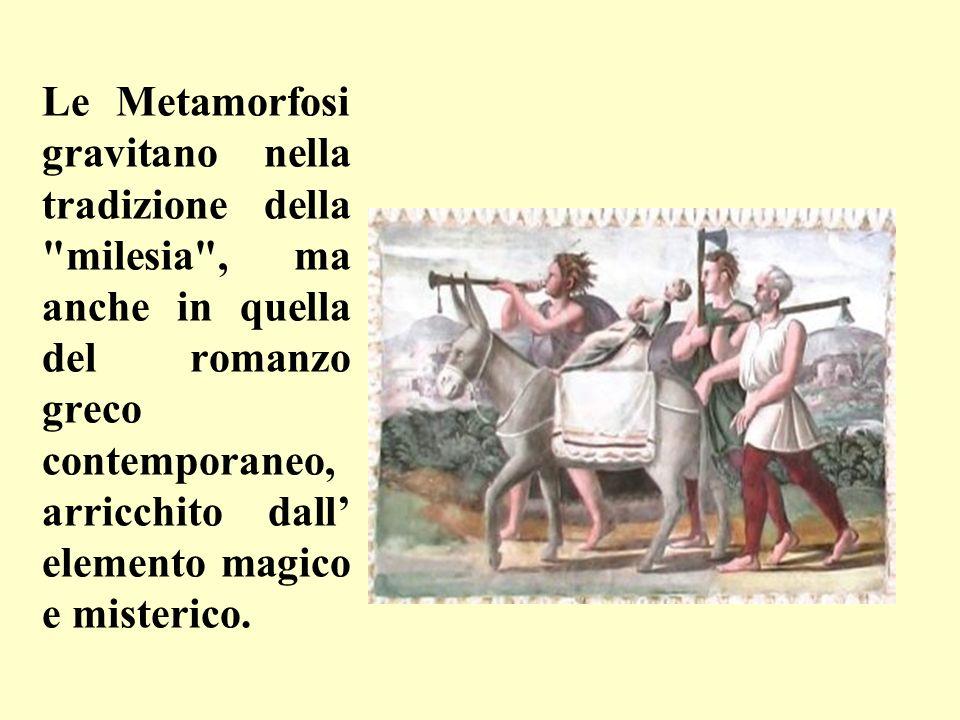 Le Metamorfosi gravitano nella tradizione della milesia , ma anche in quella del romanzo greco contemporaneo, arricchito dall' elemento magico e misterico.