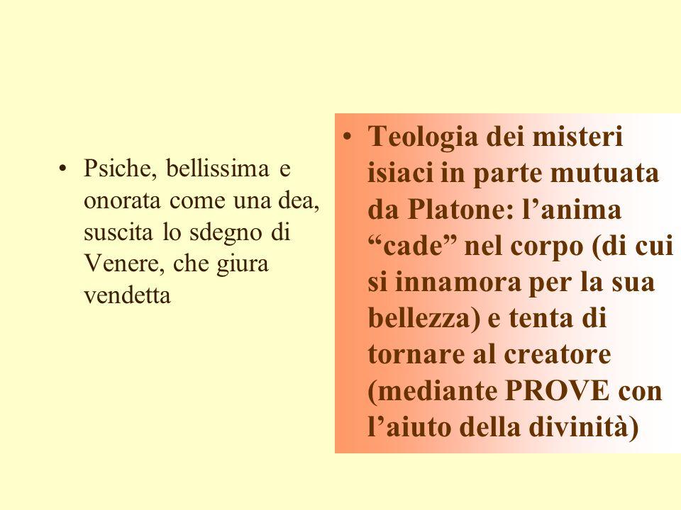 Teologia dei misteri isiaci in parte mutuata da Platone: l'anima cade nel corpo (di cui si innamora per la sua bellezza) e tenta di tornare al creatore (mediante PROVE con l'aiuto della divinità)