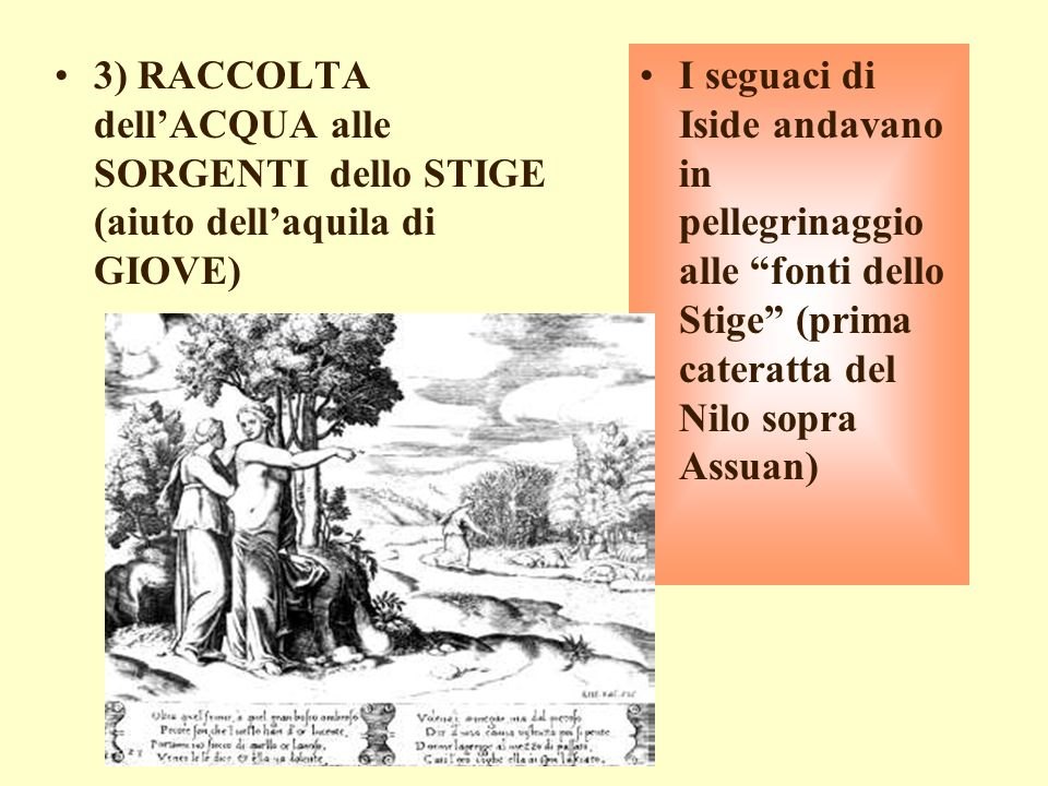 3) RACCOLTA dell'ACQUA alle SORGENTI dello STIGE (aiuto dell'aquila di GIOVE)