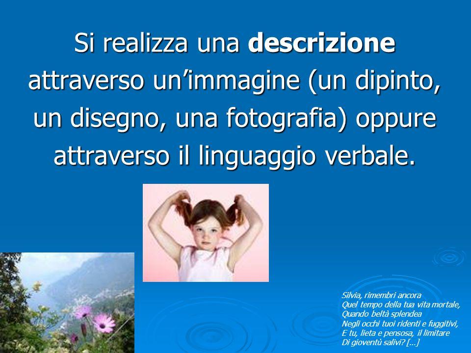 Si realizza una descrizione attraverso un'immagine (un dipinto, un disegno, una fotografia) oppure attraverso il linguaggio verbale.