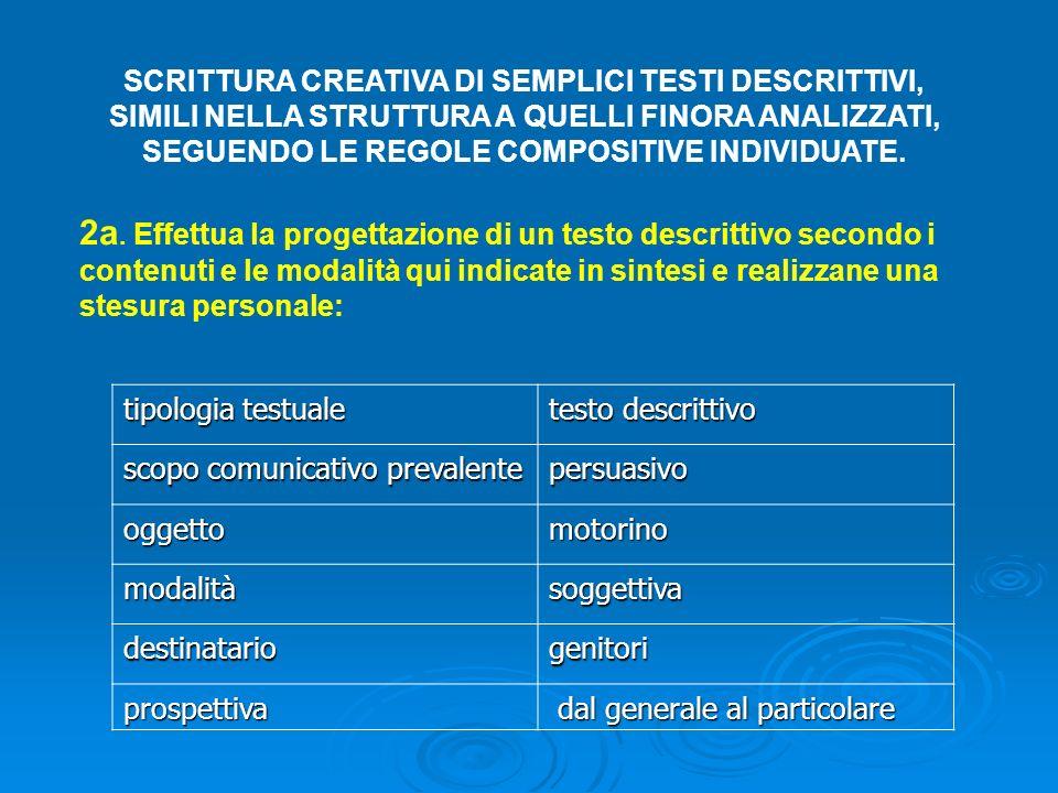 SCRITTURA CREATIVA DI SEMPLICI TESTI DESCRITTIVI,