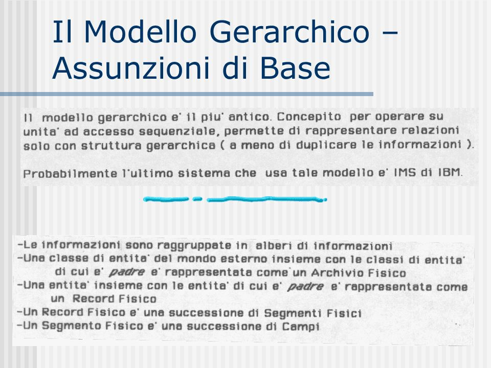 Il Modello Gerarchico – Assunzioni di Base