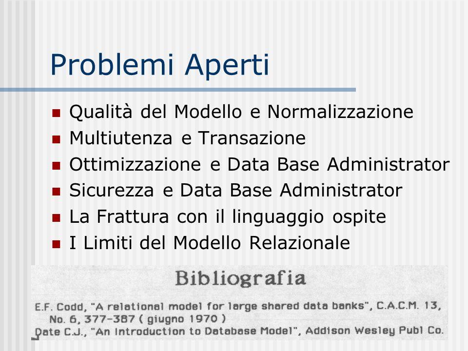 Problemi Aperti Qualità del Modello e Normalizzazione