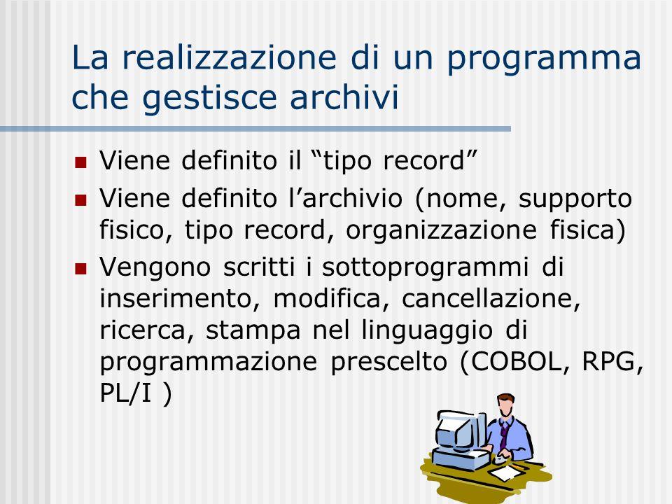 La realizzazione di un programma che gestisce archivi