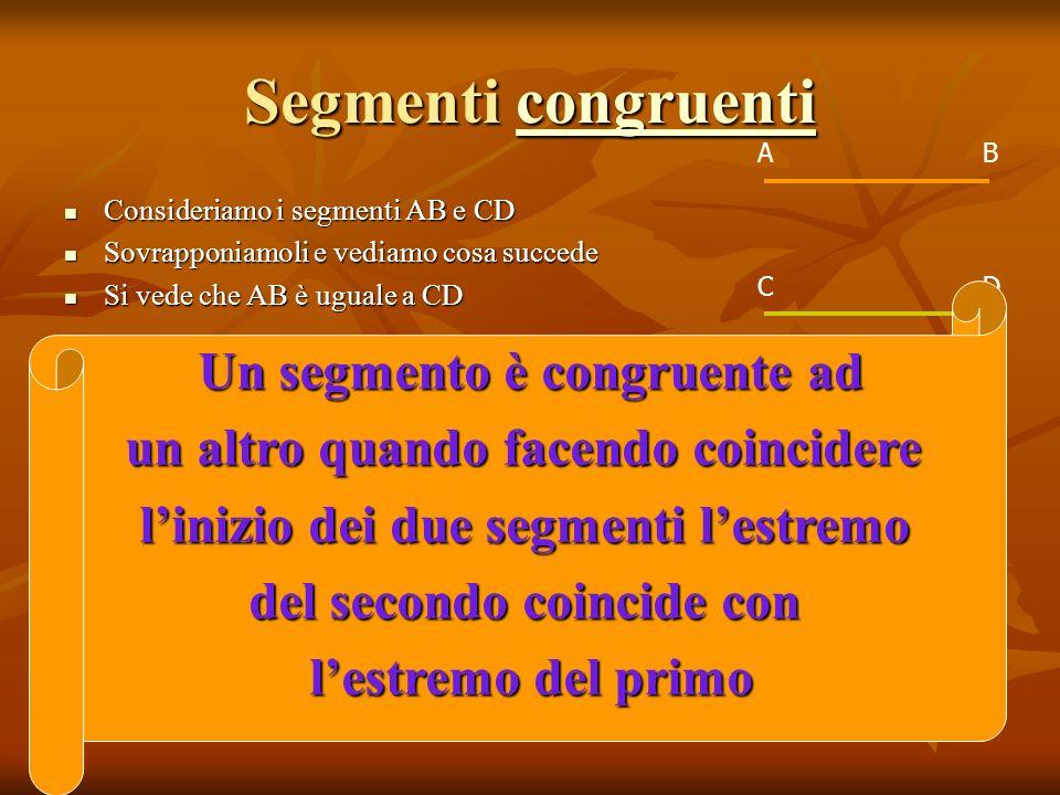 Segmenti congruenti Un segmento è congruente ad