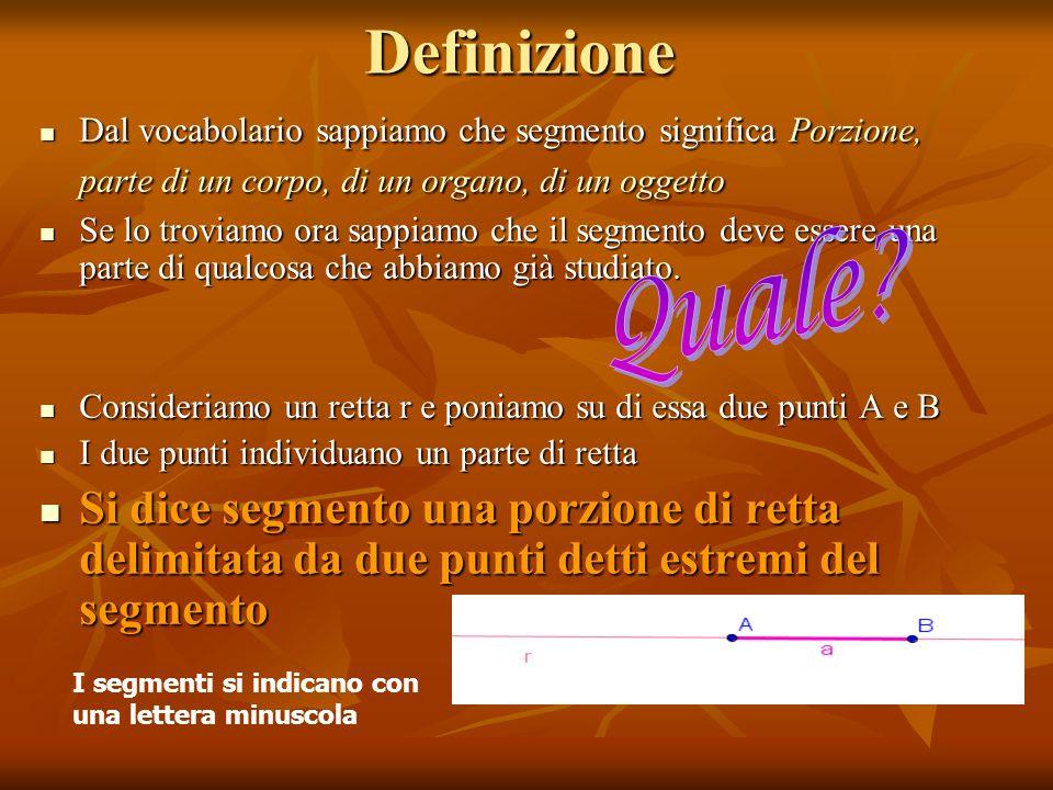 Definizione Dal vocabolario sappiamo che segmento significa Porzione, parte di un corpo, di un organo, di un oggetto.