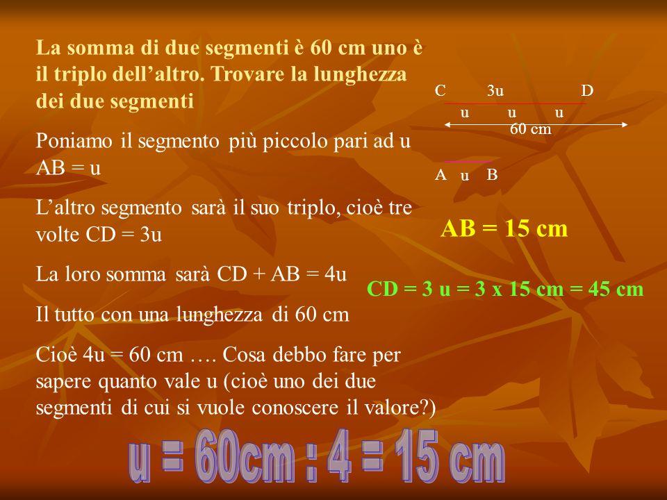La somma di due segmenti è 60 cm uno è il triplo dell'altro