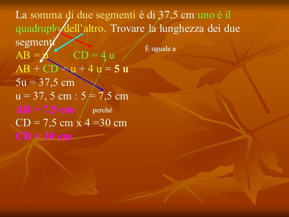 La somma di due segmenti è di 37,5 cm uno è il quadruplo dell'altro