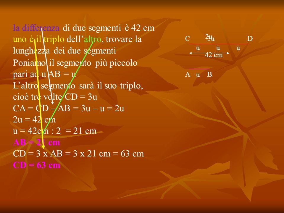 Poniamo il segmento più piccolo pari ad u AB = u