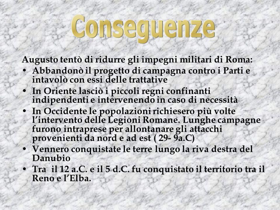 Conseguenze Augusto tentò di ridurre gli impegni militari di Roma: