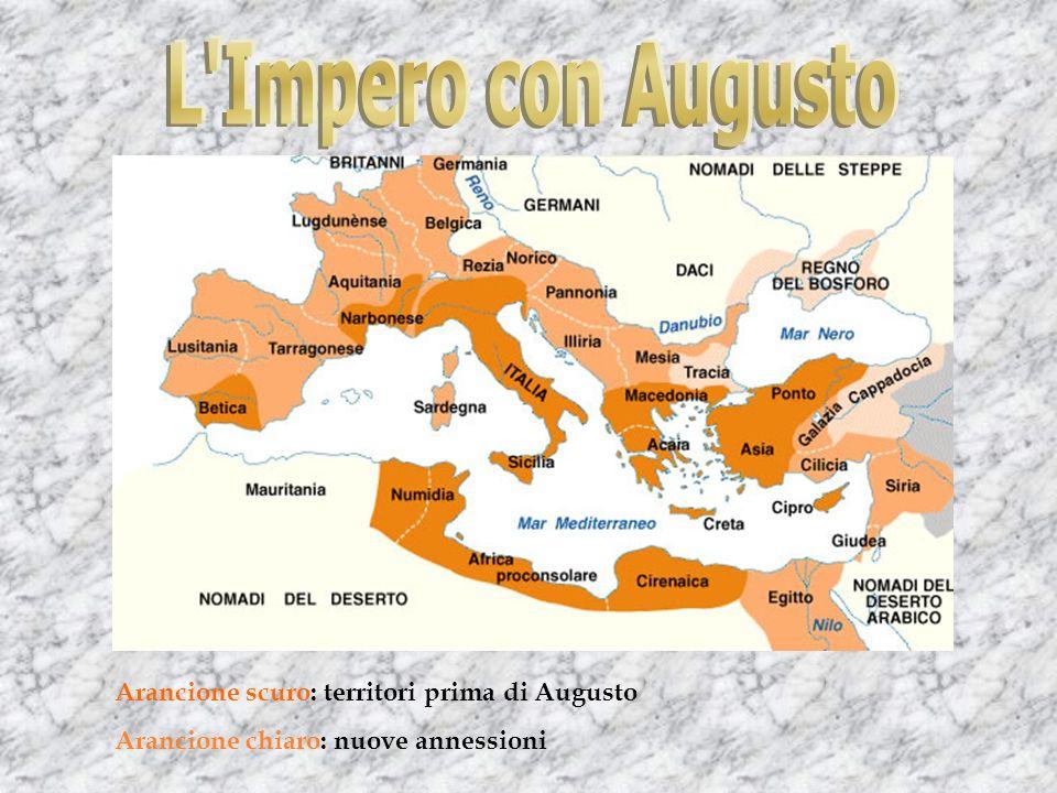 L Impero con Augusto Arancione scuro: territori prima di Augusto