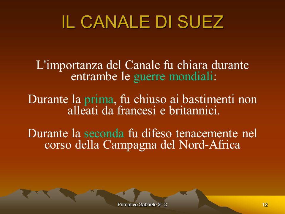 IL CANALE DI SUEZ L importanza del Canale fu chiara durante