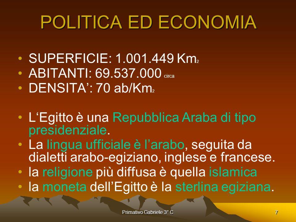POLITICA ED ECONOMIA SUPERFICIE: 1.001.449 Km2
