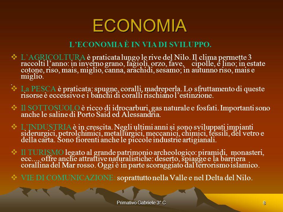 L'ECONOMIA È IN VIA DI SVILUPPO.