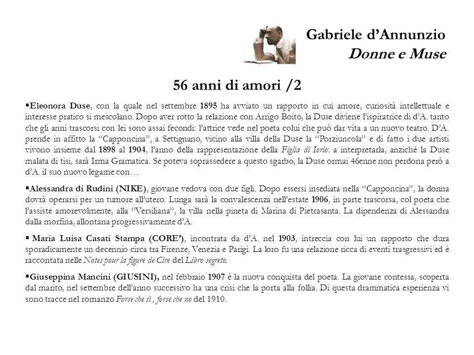 Gabriele d'Annunzio Donne e Muse