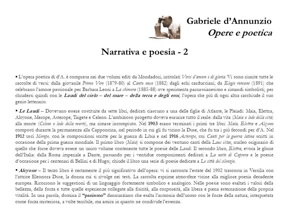 Gabriele d'Annunzio Opere e poetica