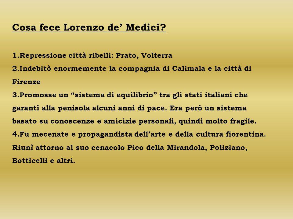 Cosa fece Lorenzo de' Medici
