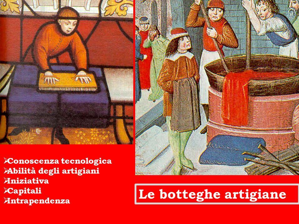 Le botteghe artigiane Conoscenza tecnologica Abilità degli artigiani